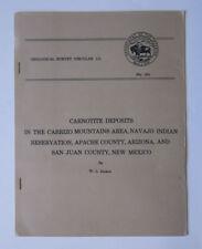Carnotite Deposits Carrizo Mountains Navajo Arizona New Mexico 1951 Circular 111