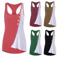 Women's Sleeveless Tank Tops Casual Loose Fit Beach Button Vest T Shirts Blouse