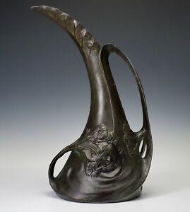 ANTIQUE ART-NOUVEAU, LOUIS MAUREL (1880-1941) FRANCE PEWTER METAL EWER FORM VASE