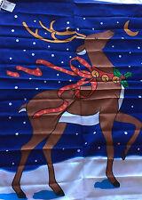 """CHRISTMAS WINTER REINDEER PRANCER SCREENPRINTED FLAG BANNER NYLON 29"""" X 41.5 NEW"""