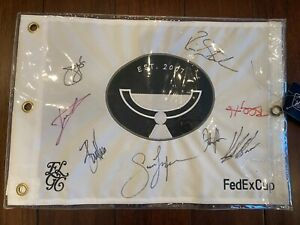 Tour Championship East Lake Flag FedEx Cup Signed By Dustin Johnson + 7 Others