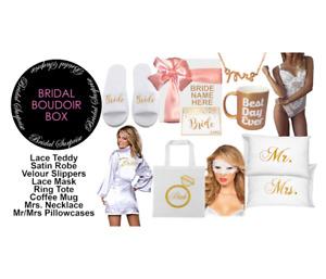 Luxury bridal boudoir gift box robe teddy mrs necklace tote mug pillowcase c-vid