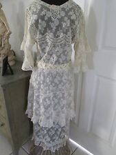 ANTIQUE EDWARDIAN FRENCH VALENCIENNES LACE AFTERNOON TEA/ WEDDING DRESS