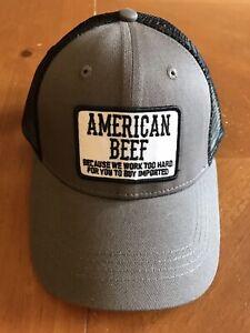 American Beef Men's Trucker Hat - Snapback - Baseball Cap - Cattle - Cattlemens
