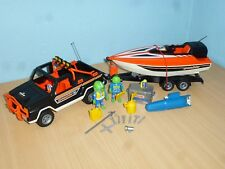3399 Jeep Pick up with Trailer Speedboot Boat Figurines Playmobil 245