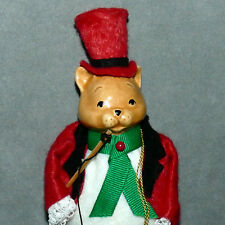 Ornament Porcelain Face Santa Helper - High End - Cat Ring Master Felt 7""