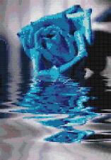 Free shipping needlework 14 counted aida flower cross stitch blue rose kit HG020