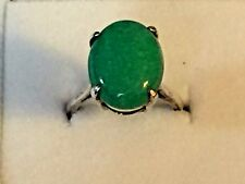 Green Onyx Cabochon. Size 6.5 Vintage Sterling Silver Ring with