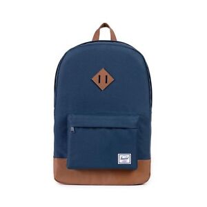 {10007-00007-OS} Herschel Supply Co. Heritage Backpack Navy/Tan NEW MSRP: $60