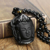 Natural Obsidian Lucky Carved Buddha Pendant + Beads Necklace Amulet Black