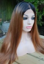 Human Hair, Auburn, Golden Light Brown Wig, Ombre Dark Roots Lace Wig free part
