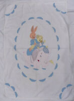 OOAK Vintage Baby Quilt Top Coverlet Applique Embroidered Elephant Bunny Puppy
