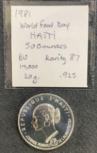 Haiti 1981 50 Gourdes KM-149 Beautiful 20 Gr .925 Silver Coin & *No Reserve!