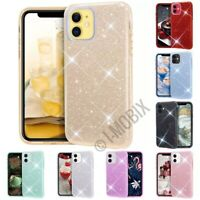 For iPhone 12/iPRO /Mini/ Pro Max C/ase Hard Rubber Clear Glitter Bling sparkle