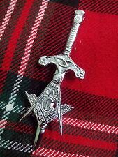 """TC Masonic Kilt Pin Chrome Finish 3.5""""/Highland Kilt Pin Masonic + Thistle Hilt"""