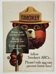 "1965 Smokey The Bear ""ABC's"" Vintage Original Forest Service Anit-Fire Poster"