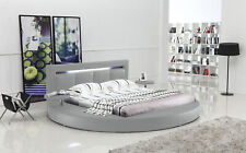Oslo Round Bed with Headboard Lights (Grey)