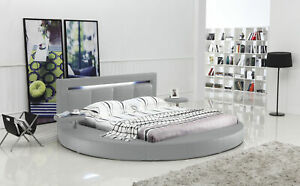 Oslo Round Bed King with Headboard Lights (Grey)