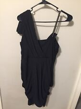 Rachel Roy Little Black Cocktail Dress Assymetrical Chain Pleated Sexy Hot 6!!!