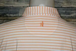 JOHNNIE-O Men's S/S Poly Spandex Polo Shirt Orange Striped