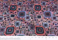 RETRO PRINT COLORS SQUARES BLACK 100% SILK DUPIONI FABRIC for DRESS DRAPE CRAFT
