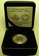 2014 Proof $5 Flowers #2-Rose Canada .9999 silver niobium five dollars