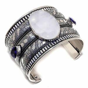 Rainbow Moonstone, Amethyst Gemstone 925 Sterling Silver Cuff Bracelet Adjst. Z0