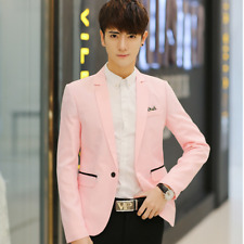 New Fashion Men's Slim Pink Casual Suit Blazer Coat Jacket Tops Korean Style