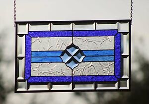"• Amazing Blue• 20.5X12.5""  Beveled Stained Glass Windows"