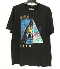 DEF LEPPARD Black Neon Concert T Shirt Pyro Album Mens XXL 2XB Band Merch