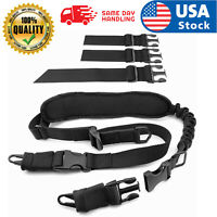 Tactical 2 Points Rifle Sling Gun Sling Military Bungee Strap W/ Hooks