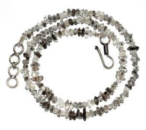 """4-6mm Beads Herkimer Diamond Quartz 925 Sterling Silver 16"""" Strand Neckalce HG05"""