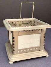 Vintage Lithophane 4 Panel Tin Lantern Tea Warmer Lamp Scenic Lithopanes