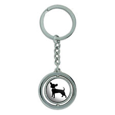 Chihuahua Spinning Round Metal Key Chain Keychain Ring