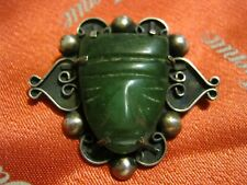 "Antique Silver Scroll Work Pin w/ Carved GREEN JADE MASK Aztec Maya 1 1/2"" LQQK!"