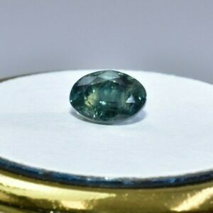 Australian Natural Faceted Sapphire -1.45 CT Parti Green Blue Oval Gemstone