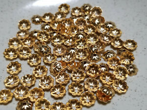 Vintage Gold Tone 6MM Ribbed Bead Cap Cup Findings Lot 100 Pc