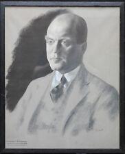 Jacob Kramer British Portrait Pastel maire de Leeds 1930 ART DECO 1892-1962