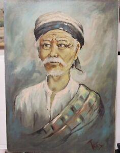 TRIVES VIETNAM ELDER MAN ORIGINAL OIL ON CANVAS PAINTING 1972