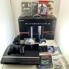 Sony Ps3 Console & Box 11 Game Bundle Fat Cechh01 40gb Controller Tested