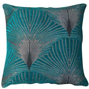 "Art Deco Fan Cushion. Luxury Velvet Chenille. Teal Blue and Silver. 17x17"""