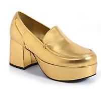Ellie 312-DADDIO Gold Men's Pimp Disco Costume Cosplay Heel Platform Shoe Loafer