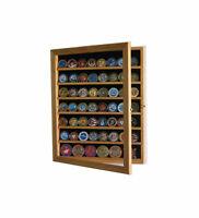 LOCKABLE Challenge Coin Display Case Poker Chip Shadow Box Cabinet Oak