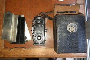 """1900s. Fine looking Antique Stereo Camera """"Compur""""  by Felix Neumann in Wien."""