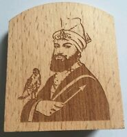Guru Gobind Singh Ji Photos Portrait Sikh Khalsa Wood Carved Desktop Stand Gift