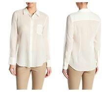Theory Womens Weylend Sheer White Cotton ButtonUp Longsleeve Blouse Shirt S $235