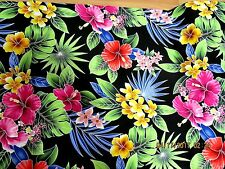 Hawaiian Quilting Fabric Black with Stylized Flowers
