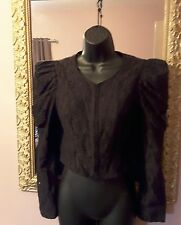 Goth black lace cropped Jacket 10~leg o'lamb statement sleeves~ vgc ~ Steampunk