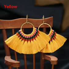 1pc Fan Shapebohotassel Hook Drop Dangle EarringsFashion Vintage Ethnic Jewelry Yellow
