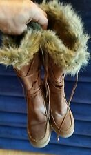 SM New York Faux Leather Calf High Lace Up Boots Irony Size 10 side Zipper